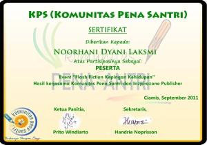Serifikat Pena Santri -Noorhani Dyani Laksmi