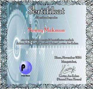 sertifikat buku indigo pena house