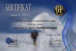 sertifikat ekspresif pecinta gunung