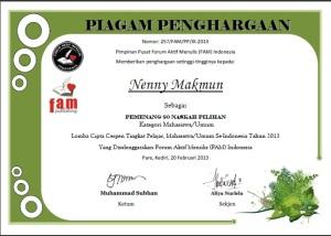 sertifikat fam juara 80 umum cerpen