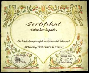 sertifikat febuari di hati