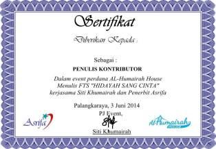 sertifikat FTS Sang Hidayah
