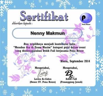 sertifikat menebar asa di enam musim