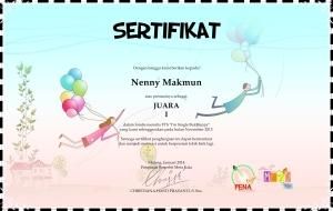 sertifikat meta kata_juara satu single happy