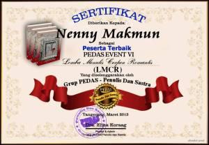 sertifikat pedas penulis terbaik cerpen romantis