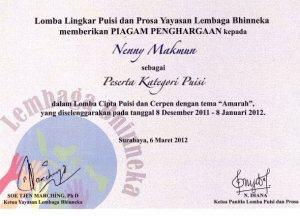 sertifikat puisi amarah lembaga bhineka