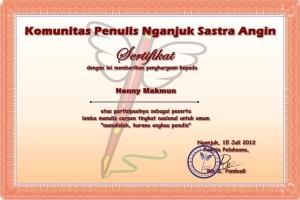 sertifikat sastra angin