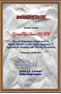 sertifikat wr cerpen