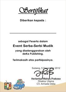 Sertifikat (Asli) Event Serba Mudik